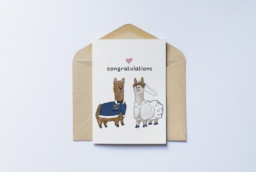 Congratulations Card - Llama Bride & Groom