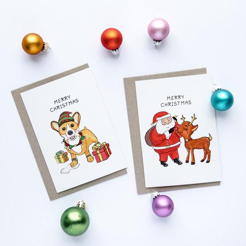 Christmas Corgi Card