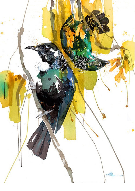 Rachel Walker Spring Treat Limited Edition Spring Treat Limited Edition Print by Rachel Walker.  Rachel is an illustrative artist living in Wellington, New Zealand, and is currently painting within the theme of animal, extinction and evolution, using watercolour, ink and a touch of stencilled spraypaint.  45cm tall x 33.5cm wide.