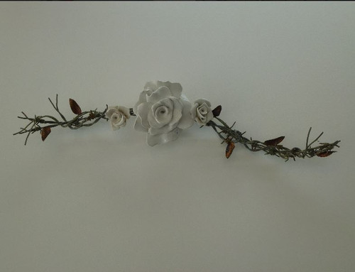Rambling Rose Branch - 3 Roses Original Ceramic, Copper & Barbwire Art created by NZ Artist Angella Hockenull - suitable for both in & outdoors. A natural love of flowers has inspired her pottery, and her upbringing on a farm has influenced her creation of mixed media art.