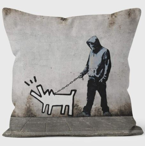 Banksy Walking the Dog Cushion