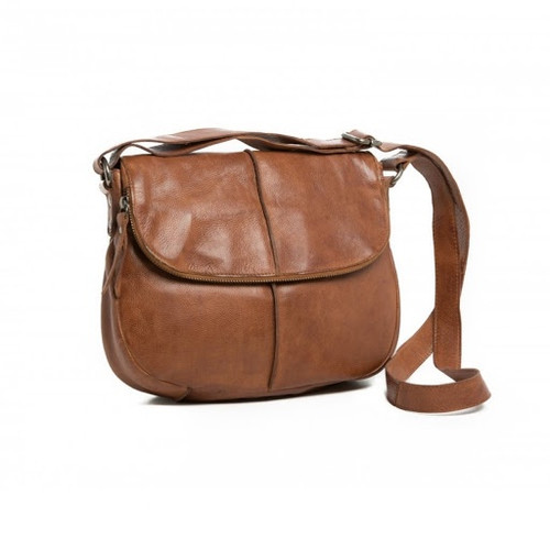 Miranda Leather Handbag - Brown Soft, beautiful leather, cross body bag.Internal Zip pocket.Two Internal pockets for phone and sunnies.External back zip Pocket.Hidden magnet under flap.Zip on front flap, which will reach the bottom of the bag.Adjustable shoulder strap. Length: 29,Height: 23,Width: 7 cm.
