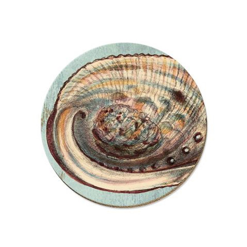 Beautiful cork backed paua coaster with striking New Zealand themed decals designed by Tanya Wolfkamp.