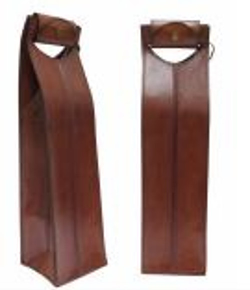 Elegant brown leather wine carrier - 10W X 10D X 41cmH
