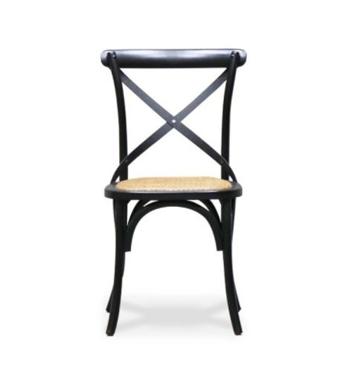 Black Metal Dining Chair The Bentwood Black Dining Chair features a metal crossback, rubbed back edges and is part of the classic Bentwood collection, originally designed in the 19th Century.This simple, lightweight chair is a true classic and evokes thoughts of dining in the quaint eateries of provincial France.Measures: 88(H) x 55(D) x 50cm(W) and the Seat Measures: 47(H) x 42(D) x 43cm(W). This is a pick up in store only item, but contact us as may be possible to deliver locally.