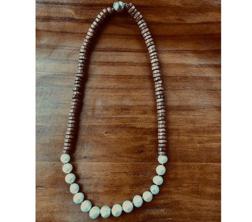 Coco Wood/Genuine Pearl Necklace with magnetic clasp.