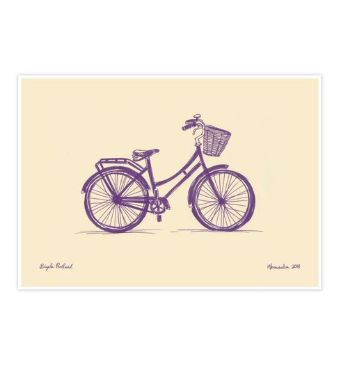 Fun colourful Bicycle print by Auckland artist Natasha Vermeulen.