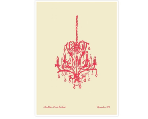 Fun colourful Chandelier print by Auckland artist Natasha Vermeulen.
