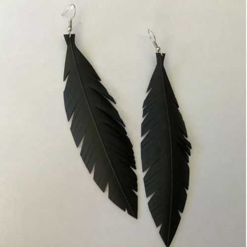 Make a statement with these handmade large feathered earrings made from polished rubber and stainless steel earring hooks.