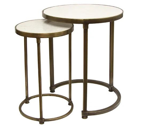 This nesting set of marble and gold iron side tables will add the perfect touch of retro glamour.