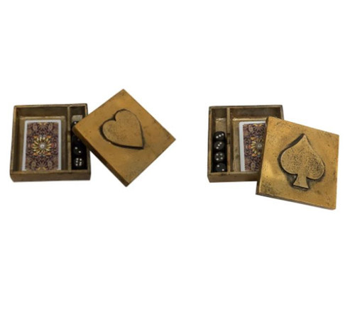 Ornate playing cards and dice box- complete with a pack of cards and 4 x dice. Please advise if you would like the Heart or Spade box.
