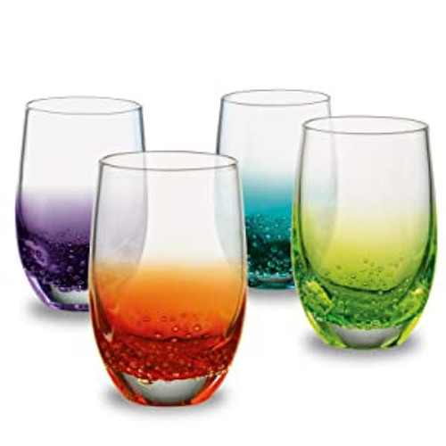 Set of four brilliant, electric coloured shot glasses.Splash of colour & fantastic bubble effect at the base of each glass makes every piece unique.Modern shaped, rounded bowls.Designed by Anton Studio Designs andhand crafted by skilled craftsmen.