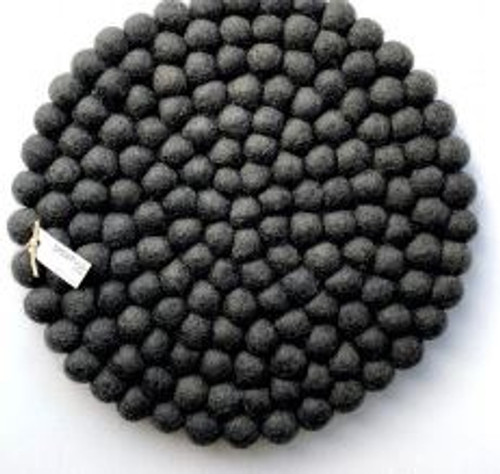 30cm Felt Ball Pot Stand - Charcoal