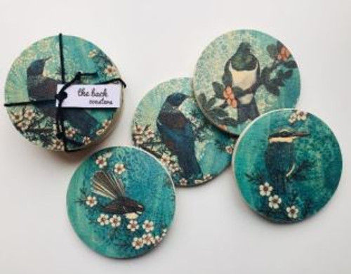 Justine Hawksworth Set of 4 Blue Native Bird Coasters
