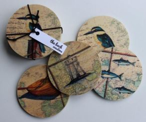Justine Hawksworth Set of 4 Map Coasters