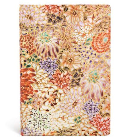 """Paperblanks Mini - Kikka The Michiko Miniatures Kikka cover reproduces Michiko Kamee's """"full of chrysanthemum"""" design originally handpainted with gold overglaze and colour on china by employing Kyo-Satsuma. In this design the viewer can see hints of the kaleidoscope of flowers in bloom, as well as fine boned artistry in every brush stroke. Soft cover, 176 pages Lined. 95mm x140mm. Great for the handbag."""