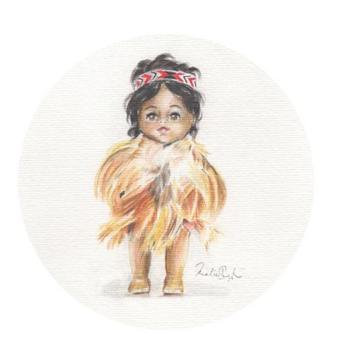 Hine Print - 21 x 21cm - Framed Hine isthe third in a series of 3 retro/vintage dolls, this little wahine is wearing a Korowai (feather cloak) and Tipare (headband) created by Wanaka artist Melissa Sharplin. 'Hine' was named after Melissa's Great Aunt Hinemoa, who was named by a Maori Chief living in Waimate who struck a friendship with Melissa's Great Grandfather as they lived next door to one another - 5 of his children were named by his friend - Wanaka, Hinemoa, Rewa, Te Hira and Koa. Melissa loves this story of friendship from long ago, how much love and respect he had to ask his friend to name his children, and she hopes to research into who he was - as she is moving to Waimate.!