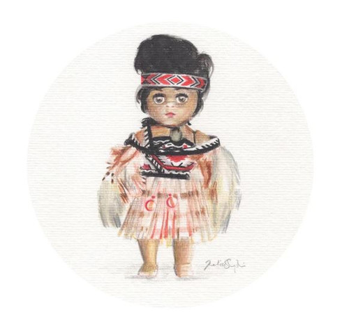 Koa Print - 21 x 21cm Koa is the first drawing in a set of three from Wanaka artist Melissa Sharplin. This little vintage doll is wearing traditional Maori dress worn by members of Kapa Haka groups for concerts and events, she wears a Kahu huruhuru (feather cloak) Pari (bodice) Tipare (headband) two Poi (balls on string) which are swung to music and song and are hanging from her waistband of her Piupiu (flax skirt) around her neck is a Pounamu pendant. 'Koa' was named after Melissa's Great Aunt Koa, who was named by a Maori Chief living in Waimate who struck a friendship with Melissa's Great Grandfather as they lived next door to one another -  5 of his children were named by his friend  - Wanaka, Hinemoa, Rewa, Te Hira and Koa.  Melissa loves this story of friendship from long ago, how much love and respect he had to ask his friend to name his children, and she hopes to research into who he was - as she is moving to Waimate.!