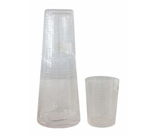 Glass Water Carafe Set Water Carafe and 2 glasses - Carafe 24cm H, Glasses 10cm H