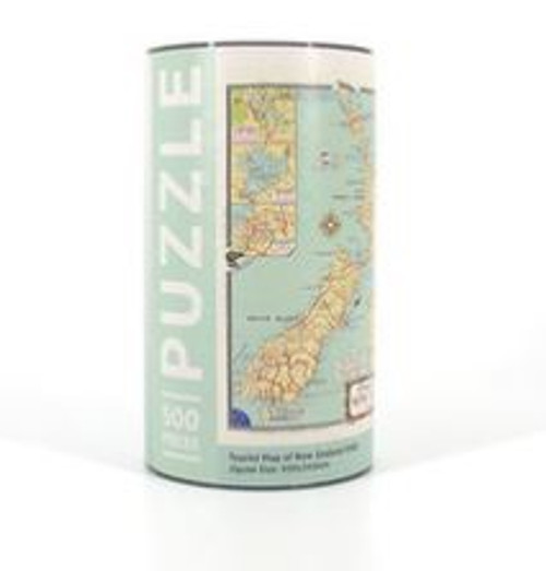 NZ Map Jigsaw Puzzle. A 500 piece jigsaw puzzle featuring the NZ tourist map. Perfect gift for any jigsaw enthusiast - and who doesn't love a good jigsaw weekend?  Made in New Zealand.  Finished size 350x500mm