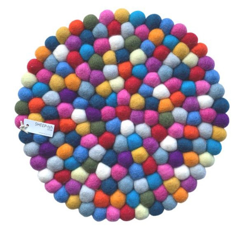 30cm Felt Ball Pot Stand - Rainbow