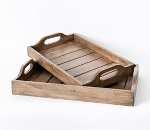 Large Wooden Handled Tray