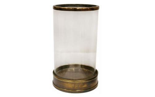 Hurricane Lamp Glass & Antique Brass finish Hurricane Lamp  Dimensions:  CM 16 DIA X 28.5 H