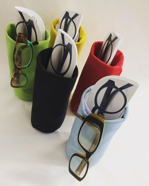 Sacco Glasses Pouch Sacco is a soft weighted storage pouch for your reading or sunglasses. Keep one at your desk, by your beside, in the living room or in the car. No more scratched lenses and frames & never lose your glasses again.  Made in Switzerland. Dimensions - 165 x 70 mm
