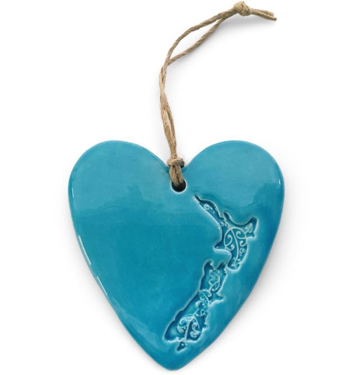 Hasina Heart with Map of NZ or Kiwi 8cm