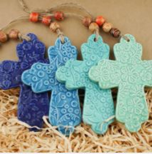 Elegant Patterned Ceramic Cross