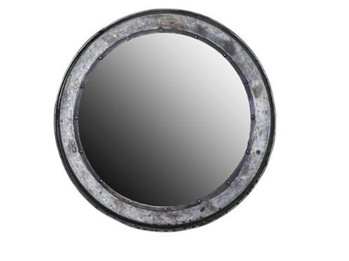 Torlouse Round Mirror 54cm A wonderfully rustic round mirror, the perfect statement piece for that industrial vibe.  Crafted from recycled iron. Measures: 54cm(H) x 4cm(D) x 54cm(W). This is a pick up in store only item, but contact us as may be possible to deliver locally.