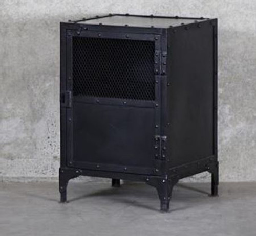 Bank Mesh & Iron Side Table Put together by artisanal metal workers, the Bank Bedside Table is the epitome of industrial. This piece works well as a bedside or a side table and has two shelves behind a half mesh iron door which latches shut.  Crafted in black steel.   67cm (H) x 40cm (D) x 45cm (W) Pick up in store only item.