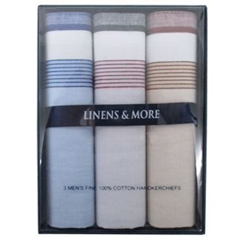 Mens 100% Cotton Handkerchief x 3