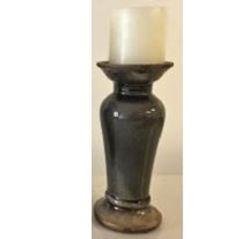 Dark Grey Ceramic Candlestick