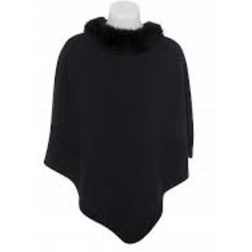 Pure Possum Trim Poncho - Black
