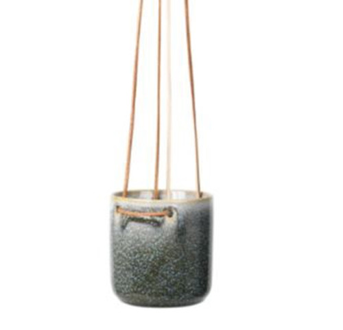 Almas Hanging Flower pot BROSTE Ceramic & leather Hanging Flowerpot.  Size:  20Dia x 21H cm