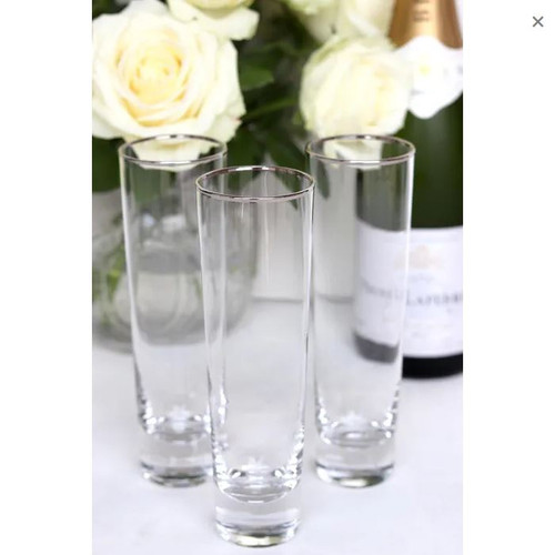 Champagne Flute with Silver Rim