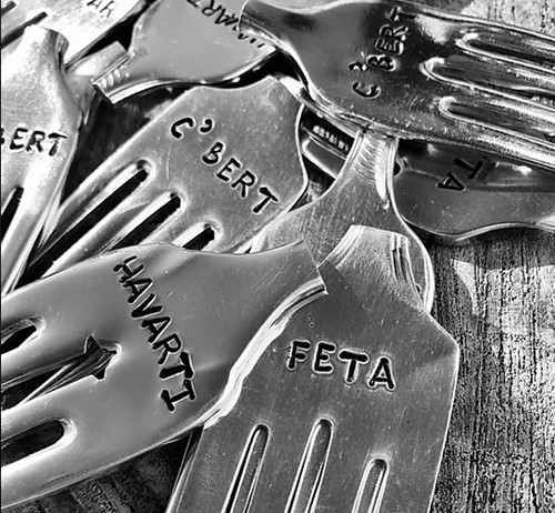 Cheesies stamped with Brie, C'Bert, Havarti and more Upcycled vintage forks made into lovely cheese markers. Created by local artisan silversmith jeweller Tina De Suza. Contact us for types available.
