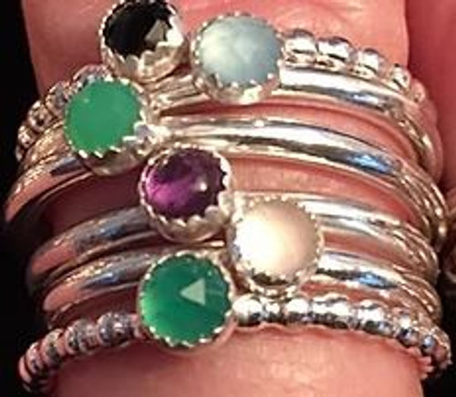 Ring: Sterling rock star stacker - semi precious stone