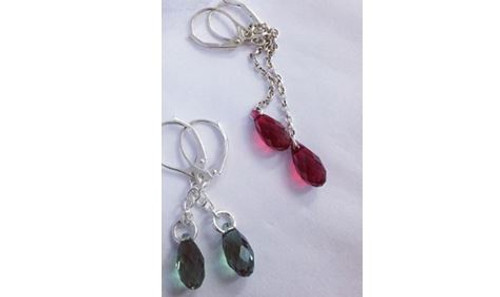 Earrings: Sterling silver & Swarovski party drops