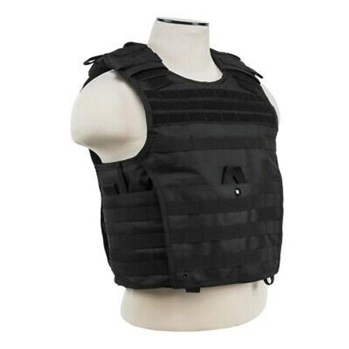 "VISM Tactical Body Armor Expert Plate Carrier Vest with 10"" x 12"" IIIA Ballistic Panels Black"