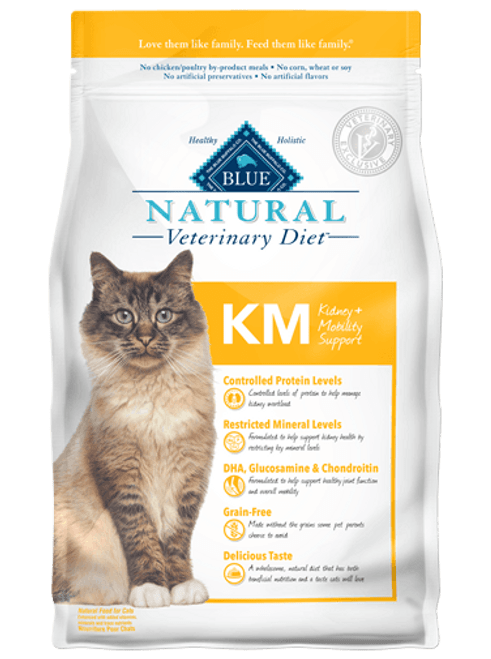 Blue Natural Veterinary Diet Feline KM Kidney + Mobility Support - 7lbs