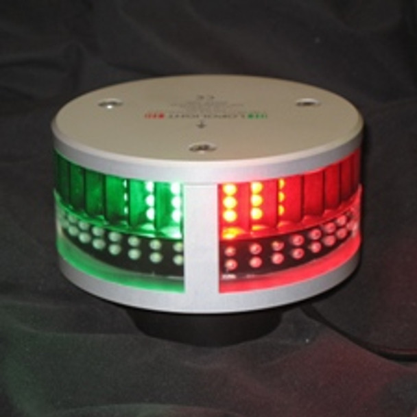 A black background with silver circular light. Green glowing lights on left and red glowing lights on right