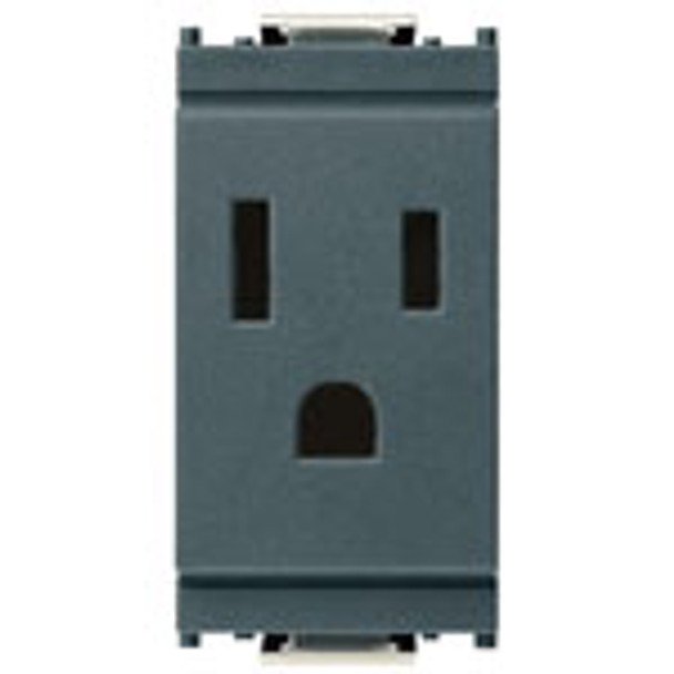 A grey rectangle Idea 2P+E 15A 127V USA Outlet. 3 holes on the front for a plug. On a white background