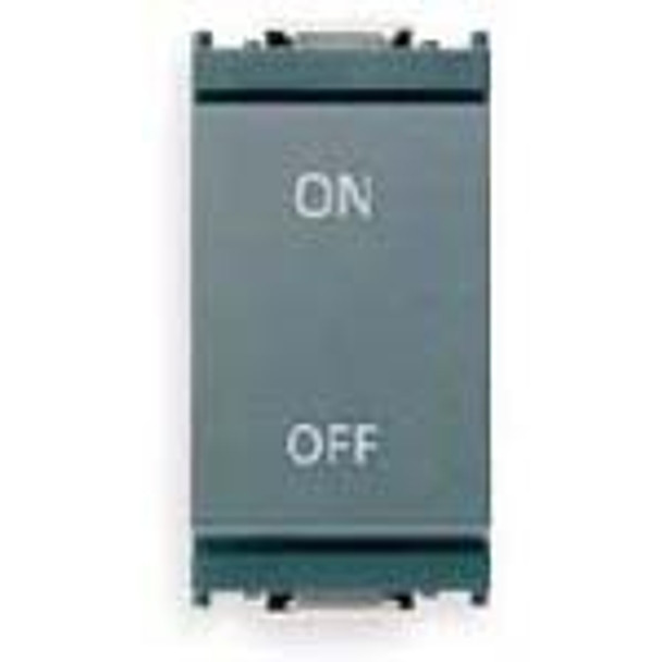 A light grey 1P NO+NC 16AX 1-Way Switch. Vertical. On written on the top. Off written on the bottom. On a white background