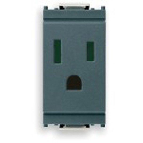 a dark grey Idea Outlet. Vertical with slots for a plug in the middle.