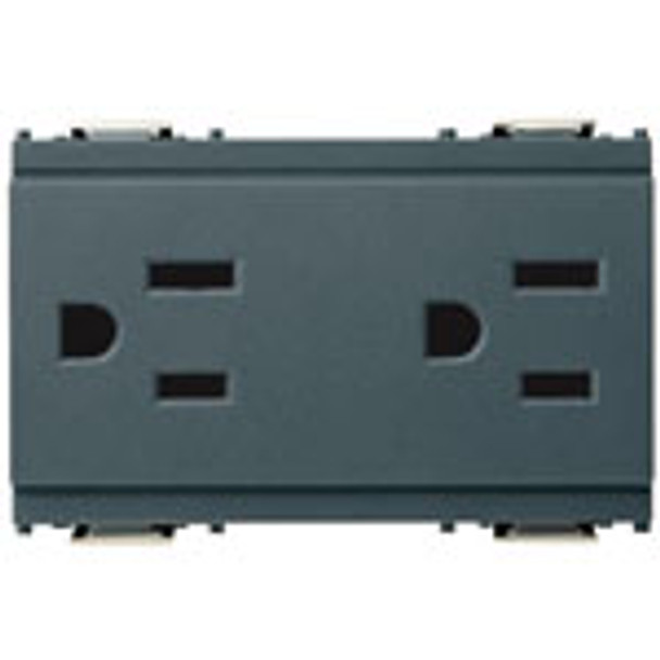 A grey rectangle with 2 outlets. One on each end. On a white background