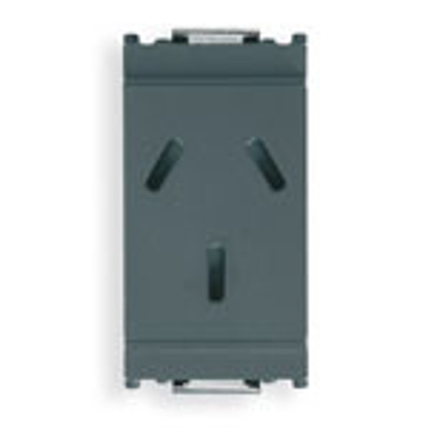 a narrow Grey rectangle. 3 slots in the middle for a plug. On a white background