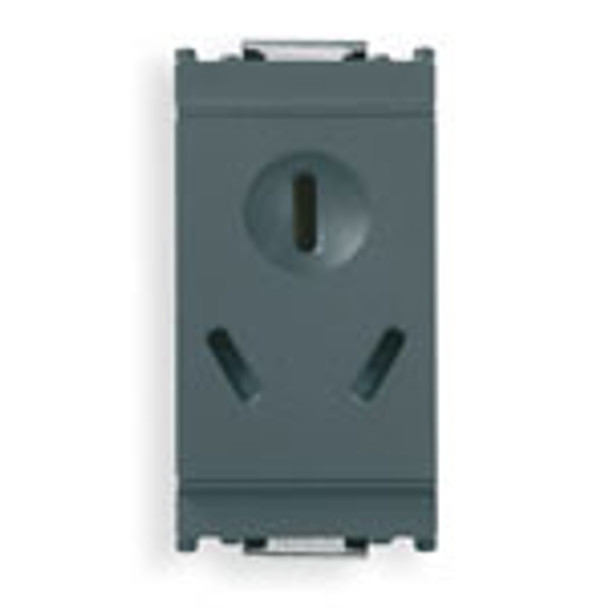 A grey rectangular Idea outlet. Vertical. 3 slots on the front. Top one in a circle. On a white background