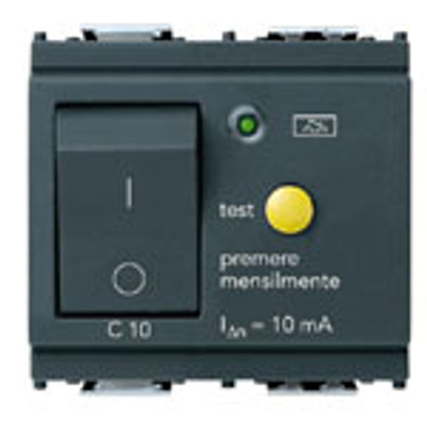 A dark grey square outlet. A rectangle push button on the left side. A round little yellow circle on the right and descriptions on the bottom. On a white background
